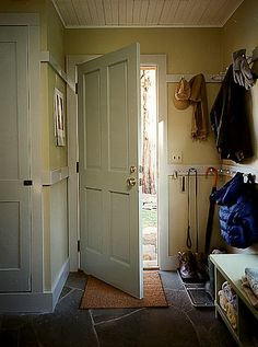 Shaker pegs are great for hanging outerwear, leashes and umbrellas in the entryway. You can make these pegs look like they've been there forever by adding them to molding. For simple installation, look for pegs that have screws on the end, like those from constantines.com