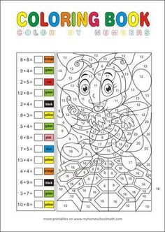Calculating and painting ZR 20 - Math tasks for the grade Mathematics in the Gru . Math Coloring Worksheets, Printable Math Worksheets, Subtraction Worksheets, Math 4 Kids, Color By Number Printable, First Grade Freebies, Color By Numbers, Math Addition, Second Grade Math