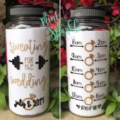 Sweating for the Wedding.  Motivational water bottle with hourly tracker