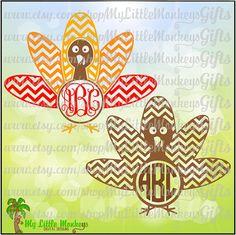 Chevron Turkey Multicolor Monogram Base by MyLittleMonkeysGifts