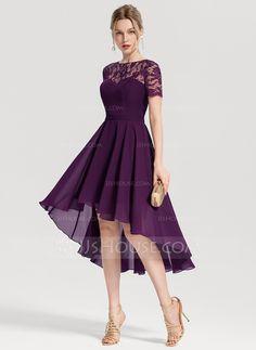 A-Line/Princess Scoop Neck Asymmetrical Chiffon Homecoming Dress - Homecoming Dresses - JJ's House Pretty Dresses, Sexy Dresses, Evening Dresses, Fashion Dresses, Casual Dresses, Long Dresses, Fall Dresses, Tube Dress, I Dress