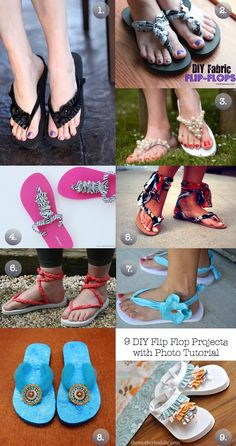 Summer Fun - 9 DIY Flip Flop Projects With Photo Tutorial ~ show off those pretty toenails ♥ Chinelos Flip Flop, Flip Flop Craft, Shoe Makeover, Flipflops, Black Flip Flops, Shoe Crafts, Do It Yourself Fashion, Crochet Shoes, Bare Foot Sandals