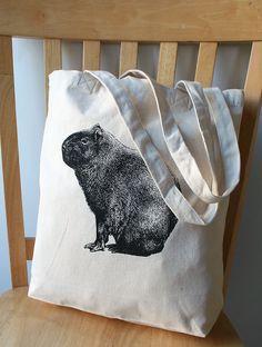 Capybara Screen Printed Canvas Tote Bag by catbirdcreatures, $12.00