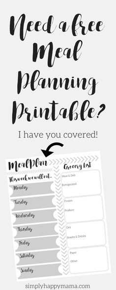 Free Meal Planning and Grocery List Printable