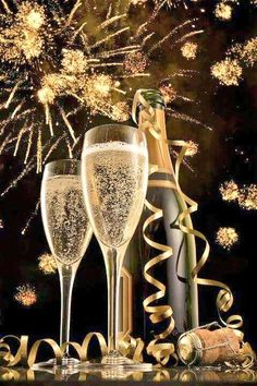 New-Years-champagne glasses-and fireworks New Year Gif, Happy New Year Images, Happy New Year 2016, New Year 2018, Happy 2017, Happy New Year Wishes, Auld Lang Syne, Quotes About New Year, Anita