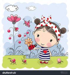 Cute Cartoon Girl With Ladybug On A Meadow Banco de ilustração vetorial 482752612 : Shutterstock