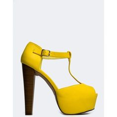 Breckelle's Brina-21 Sandal ($30) ❤ liked on Polyvore featuring shoes, sandals, yellow, breckelles sandals, breckelles shoes, yellow shoes and yellow sandals
