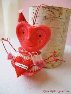 Swirly Designs by Lianne & Paul www.swirlydesigns.com Handmade polymer clay holiday ornaments #valentine #love #handmade #polymerclay #ornaments #red #pink #heart #swirlydesigns