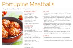 Porcupine meatballs / CHEFS TOOLBOX Pressure Cooker Recipes, Pressure Cooking, Cooking Recipes, Healthy Recipes, Kid Recipes, Healthy Food, Recipies, Porcupine Meatballs, I Chef