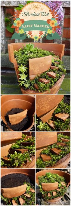 """Fairy garden from broken clay pot - use large shard as a """"retaining wall"""" leaving space to spiral steps down made from smaller shards, tuck in moss to retain the soil."""