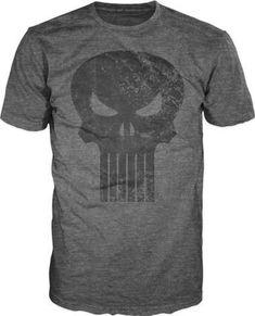 3f5ea6376 Punisher Black Skull Logo Men's Gray T-Shirt Tee Shirt