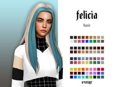 "evoxyr: "" felicia hair ""☽ modelled by one of lovely sims Maxis, Los Sims 4 Mods, Sims 4 Game Mods, Sims Four, Sims 4 Mm Cc, Sims 4 Cas, My Sims, The Sims 4 Packs, Pelo Sims"