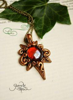 Amber pendant - fantasy jewellry - polymer clay