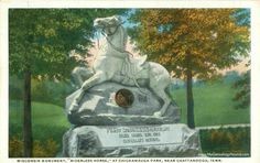 Chattanooga, Tennessee, First Wisconsin Cavalry Monument, Riderless Horse, Chickamauga Park, vintage postcard photo
