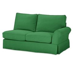 PB Comfort Roll Arm Slipcovered Right Arm Love Seat, Box Edge Down Blend Wrapped Cushions, Linen Blend Grass Green