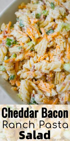 Cheddar Bacon Ranch Pasta Salad is a quick and easy cold side dish recipe perfect for summer. This creamy pasta salad is loaded with shredded cheddar cheese, bacon, green onions and crumbled potato chips. Cookout Side Dishes, Cold Side Dishes, Pasta Side Dishes, Pasta Sides, Cookout Food, Side Dishes Easy, Side Dish Recipes, Food Dishes, Cold Pasta Dishes