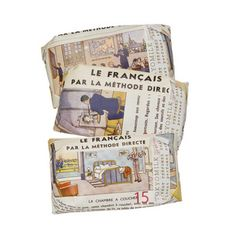 French Lessons textbooks recycled as wrapping paper  Objects to Desire | TokyoMilk by Margot Elena