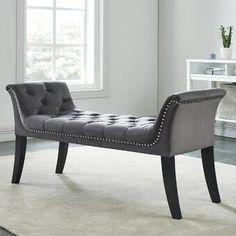 House of Hampton Melendy Velvet Upholstered Bench Color: Gray Upholstered Storage Bench, Upholstered Dining Chairs, Modern Style Homes, Upholstery, House Design, Bed Design, Velvet, Furniture, Nail Head