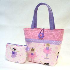 Little Girls Purse and Coin Purse Set Ballerina Fabric Mini Tote Bag Childs Purse Kids Bag Ballet Pink Purple MTO Handmade