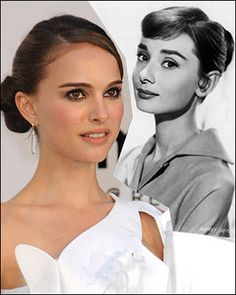 Red carpet hairstyle. Old Hollywood hair - Audrey Hepburn/ Natalie Portman. Celebrity hairstyle.