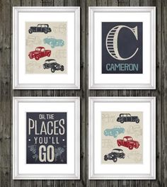 Vintage trucks and transportation theme for boys nursery or bedroom, oh the places you'll go, transportation decor for boy, personalized art Boy Toddler Bedroom, Big Boy Bedrooms, Boys Bedroom Cars, Car Bedroom Ideas For Boys, Boy Nursery Cars, Car Themed Nursery, Boy Car Room, Boys Bedroom Themes, Boy Nursery Themes