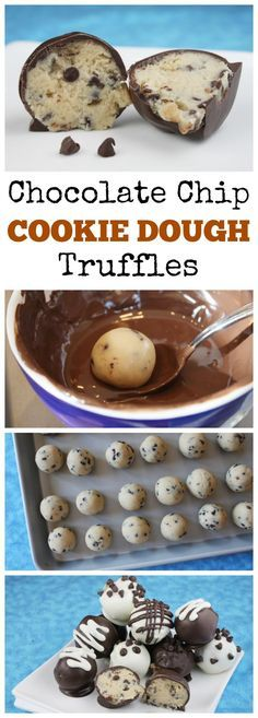"""Chocolate Chip Cookie Dough Truffles #recipe: made with """"no egg,"""" safe-to-eat chocolate chip cookie dough.  SO GOOD."""