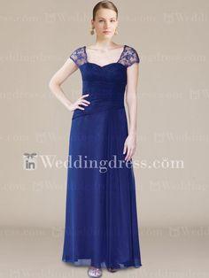 Flowing Chiffon Mother of the Bride Dress with Cap Sleeves. Re-pin if you like. Via Inweddingdress.com #motherofthebride