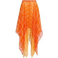 ROOPA Asymmetric Relaxed Drape Skirt ($600) ❤ liked on Polyvore featuring skirts, orange, orange skirts, asymmetrical skirt, high-waisted skirts, high rise skirts and layered skirt