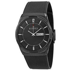 Skagen Men s Melbye Quartz Black Band Black Dial Titanium Watches, Mesh Bracelet, Bracelet Watch, Skagen Watches, Mesh Band, Stainless Steel Mesh, Aktiv, Watch Sale