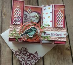 NOLA Creations, Stampin Up, Susan Levasseur, Petal Palette, Swirly Bird, Sweet & Sassy, Card, Fancy Fold, Bridge Fold