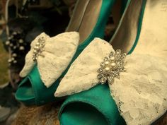 Bridal Lace Shoe Clips  set of 2   Lace Pearl and by ShoeClipsOnly, $28.00