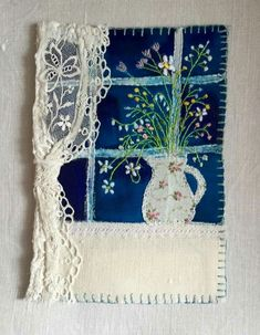 """Maker: M Stephens """"Mixed media/textile piece"""" Handmade in Cornwall Free Motion Embroidery, Embroidery Applique, Embroidery Stitches, Embroidery Designs, Applique Patterns, Fabric Cards, Fabric Postcards, Sewing Art, Sewing Crafts"""