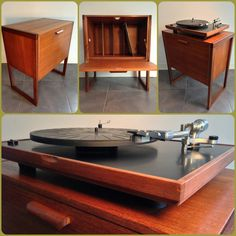 Record Cabinet. Original 60's teak record cabinet.