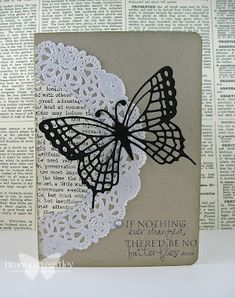 pretty doily card - Simple, black and white.  Printed paper inside of doily.