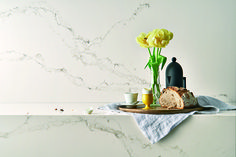 Another view of Caesarstone Quartz - Statuario Nuvo. Soft white with subtle veining - its a winner with almost any other color