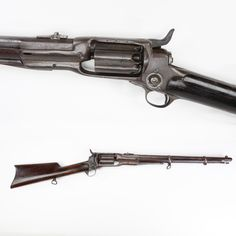 Colt Model 1855 Revolving Rifle - This firearm was offered in both smoothbore and rifled formats. This .56 caliber five-shot carbine was one of about 4,400 made between 1856 to 1864. Many of these repeaters were used by cavalry troopers, although with the possibility of  multiple chamber discharges – other guns were often preferred. It's unclear whether this piece actually saw service during the Am. Civil War, but today you can see it on display at the NRA National Sporting Arms Museum.