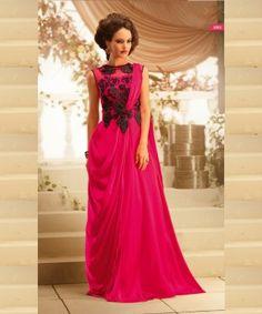Viva N Diva Pink Color Satin Georgette Gown