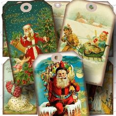 Aged Vintage Christmas 1 Hang Tags Digital by CharmedMemoryCollage, $3,50