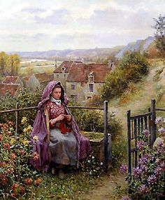 In the Garden by Daniel Ridgway Knight - 22 x 19 inches Signed and inscribed Paris paris salon french academic genre rolleboise women in gardens figures figurative flowers