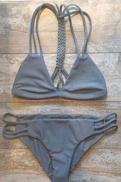 Gray Cutout Triangle String Bikini Set GRAY: Swimwear | ZAFUL: