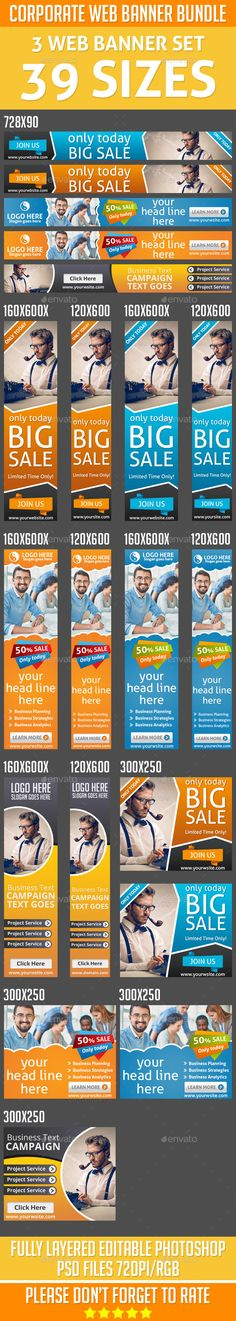 Corporate Business Web Banner Bundle PSD Template #design #ads Download: http://graphicriver.net/item/corporate-business-web-banner-bundle/13070154?ref=ksioks