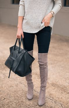 Over the knee boots with pants. black leather purse. dark wash jeans. leggings. neutral sweater. tan. grey. gray. winter fashion. fall fashion. 2016. trends. trend. casual. date. shopping. dinner. family. holiday. gold watch.