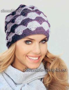 Схема вязания спицами женской шапки