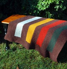 """Deciduous Stripes by Melissa Mall ~ I see this with 7 colored stripes (plus the 8 MC stripes and borders), each 4"""", for a total length of 64"""" in length. Just find your gauge and add the extra stitches for width. So simple! So pretty! ~ Sheila"""