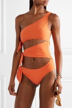61e2b400b56 Lisa Marie Fernandez Bianca One-shoulder Cutout Stretch-crepe Swimsuit -  Orange