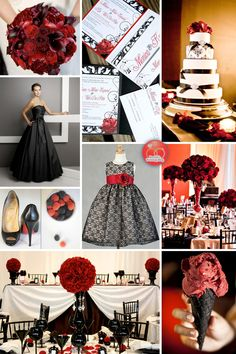 raspberries and blackberries; black cones with red ice cream; black heels with red painted on bottom; black champagne glasses for wedding party (have names printed on them for bridal gift?)
