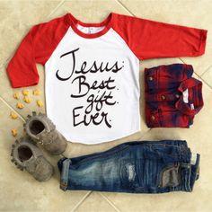 Jesus Christmas Tshirt. Baby & Kids Baseball Tshirt.  Baby Tee. Trendy Kids Clothes. Hipster Kids Clothes. Toddler Tshirt. Child Shirt. by OneTwentyTwoKids on Etsy https://www.etsy.com/listing/226811899/jesus-christmas-tshirt-baby-kids