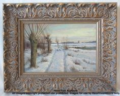 Jen Christian Bennedsen Signed Swedish Winter Windmill Landscape Oil Painting  NO RESERVE From Chicago NY Designer Estate
