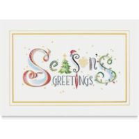 Season''s Greetings! This horizontal card is just dashing with its swirls and stripes and stars! Green and red are highlighted with gold foil and hues of blue, purple, and yellow. A snowflake, a Christmas tree, an ornament and even Santa''s hat are wittily designed into the scene of this card.