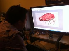 WPBT2's awesome graphic artist Norman Silva creating a 3-D animation of a giant isopod for upcoming @ChangingSeas episode on the creatures of the deep.